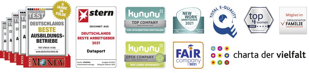 Siegel für u. a. Deutschlands beste Ausbildungsbetriebe, bester Arbeitgeber und Fair Componay